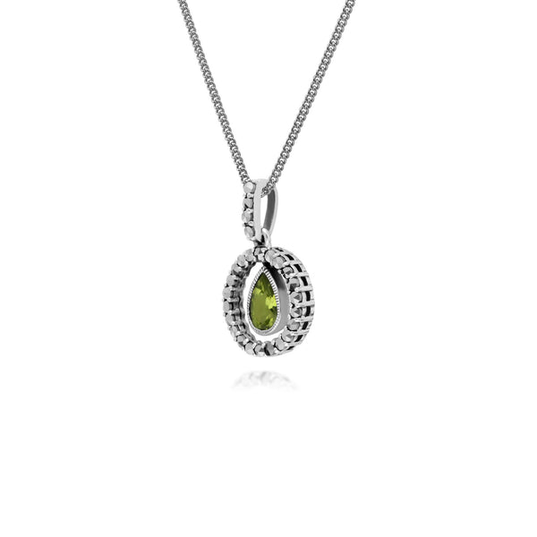 Classic Peridot & Marcasite Halo Necklace Image 2