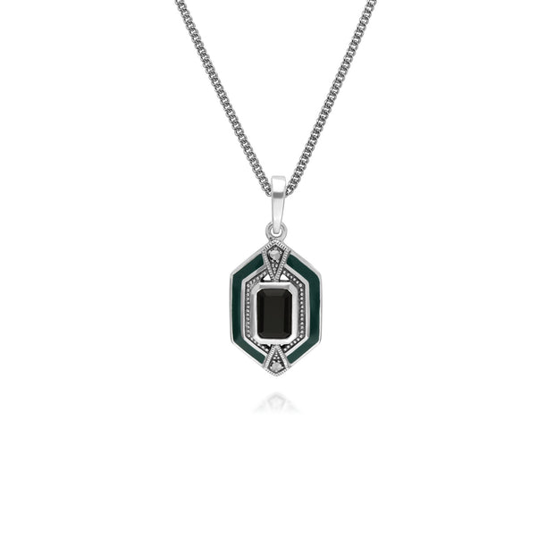 Art Deco Onyx & Enamel Hexagon Ring & Pendant Set Image 2