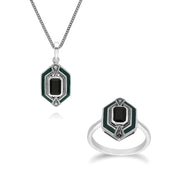 Art Deco Onyx & Enamel Hexagon Ring & Pendant Set Image 1