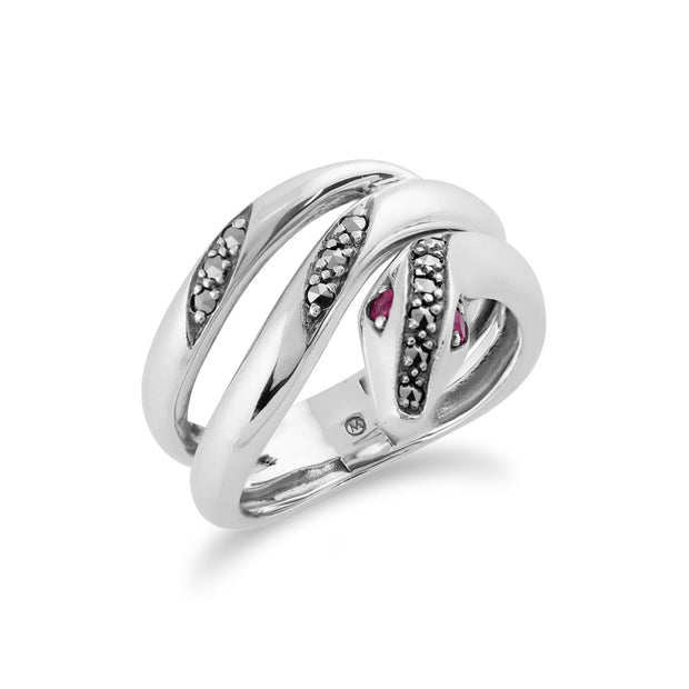 Ruby & Marcasite Snake Ring Image 2