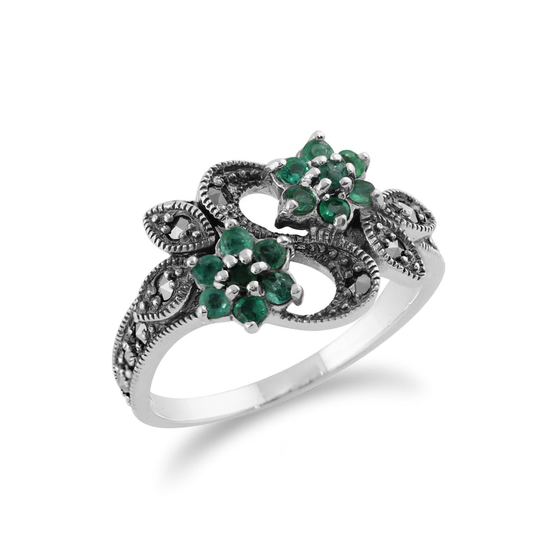 Emerald & Marcasite Flower Ring Image 2