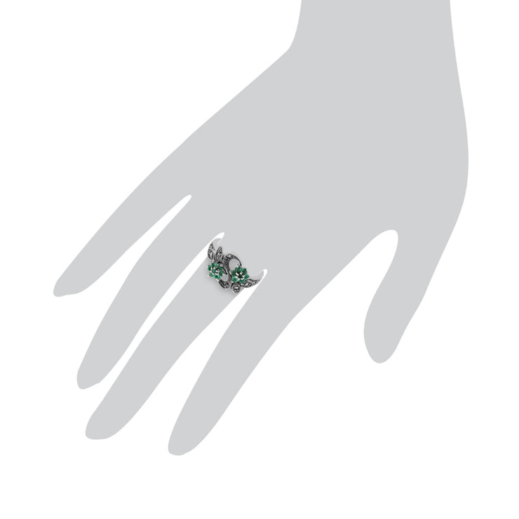 Emerald & Marcasite Flower Ring Image 3