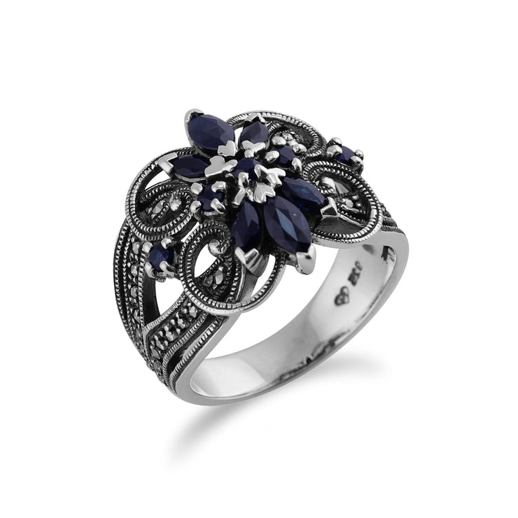 Sapphire & Marcasite Floral Cocktail Ring Image 2
