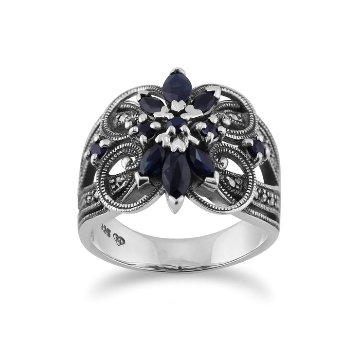 Sapphire & Marcasite Floral Cocktail Ring Image 1