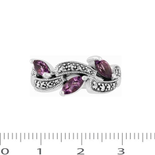 Amethyst & Marcasite Ring Image 4