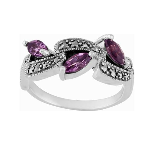 Amethyst & Marcasite Ring Image 1