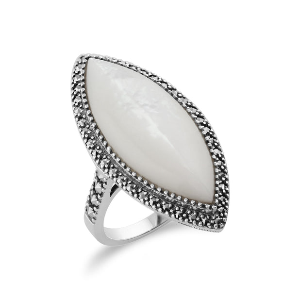 Art Deco Style Mother of Pearl Statement Ring Image 2