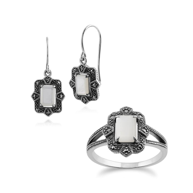 Art Deco Mother of Pearl & Marcasite Drop Earrings & Ring Set Image 1