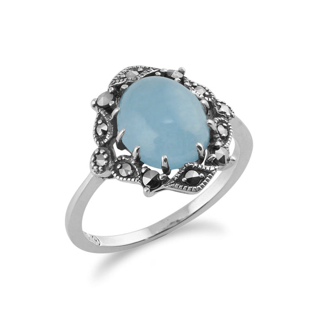 Art Nouveau Style Blue Jade Statement Ring Image 2