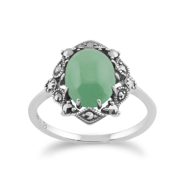 Art Nouveau Style Green Jade Statement Ring Image 1