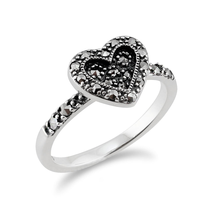 Art Deco Style Marcasite Heart Ring Image 2