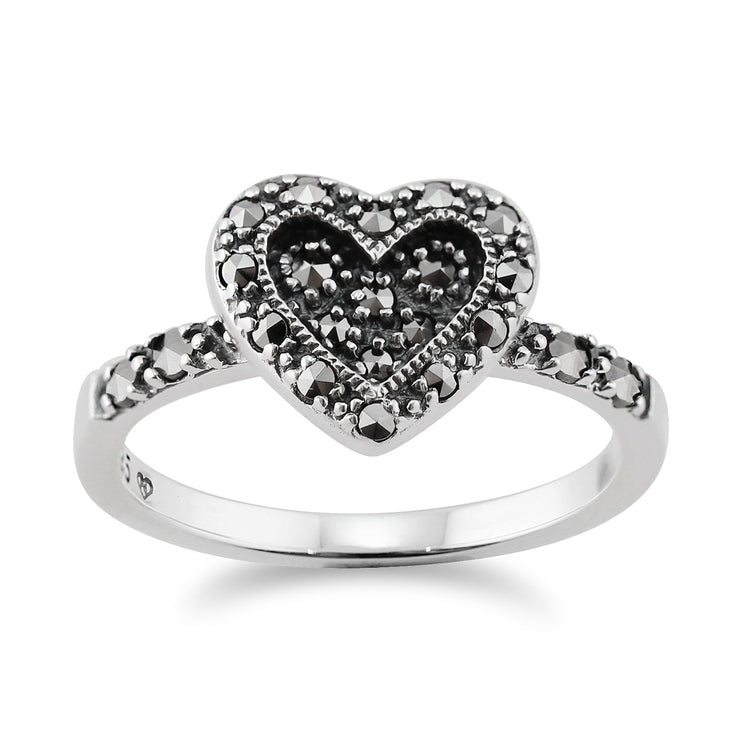 Art Deco Style Marcasite Heart Ring Image 1