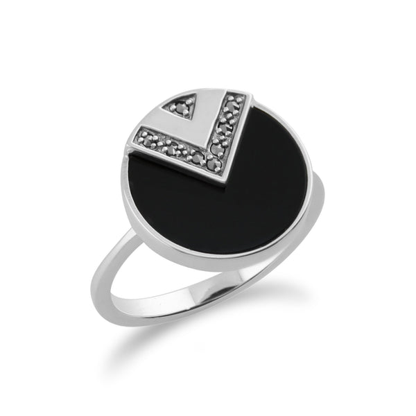 Gemondo 925 Sterling Silver 3ct Black Onyx & Marcasite Art Deco Ring Image 2
