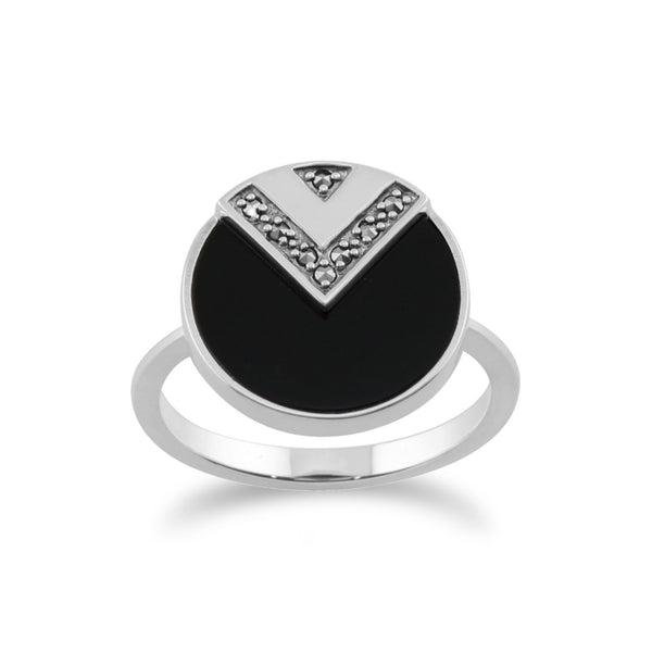 Gemondo 925 Sterling Silver 3ct Black Onyx & Marcasite Art Deco Ring Image 1