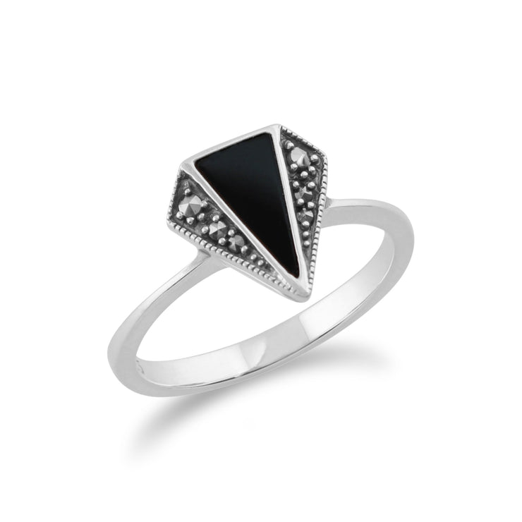 Art Deco Style Onyx & Marcasite Triangle Ring Image 2
