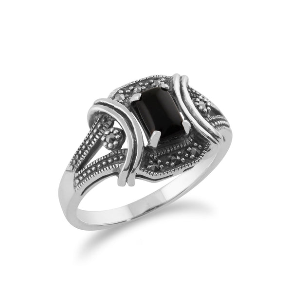 Art Deco Style Style Onyx and Marcasite Ring Image 2