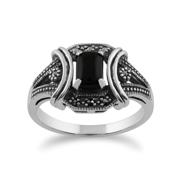 Art Deco Style Style Onyx and Marcasite Ring Image 1