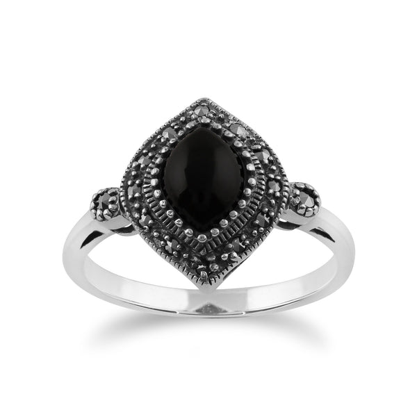 Gemondo 925 Sterling Silver 1.00ct Black Onyx & Marcasite Art Deco Ring Image 1