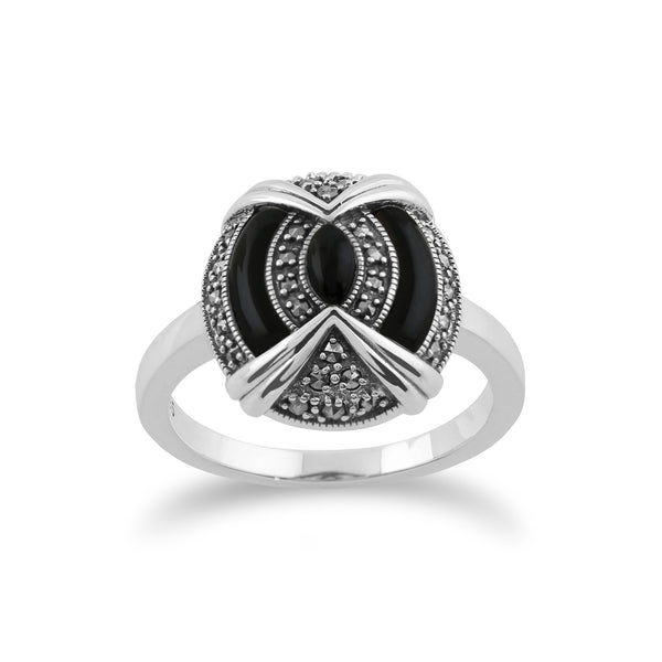 Gemondo 925 Sterling Silver Art Deco Black Onyx & Marcasite Ring Image 1