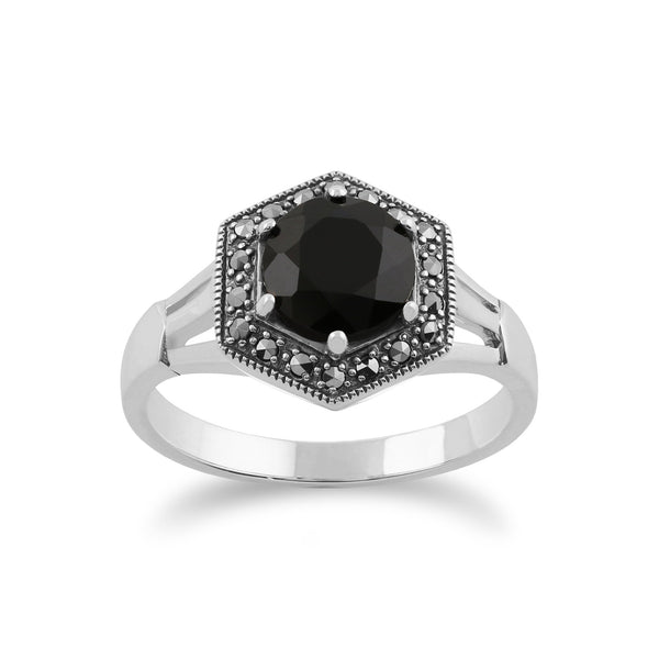 Gemondo 925 Sterling Silver Art Deco Black Spinel & Marcasite Ring Image 1