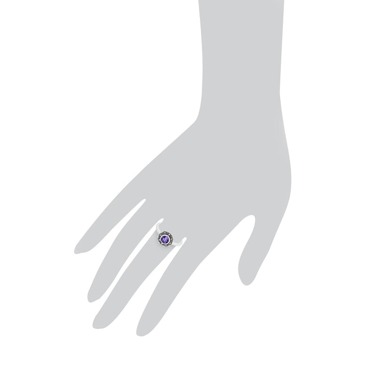 Floral Amethyst Halo Ring Image 1