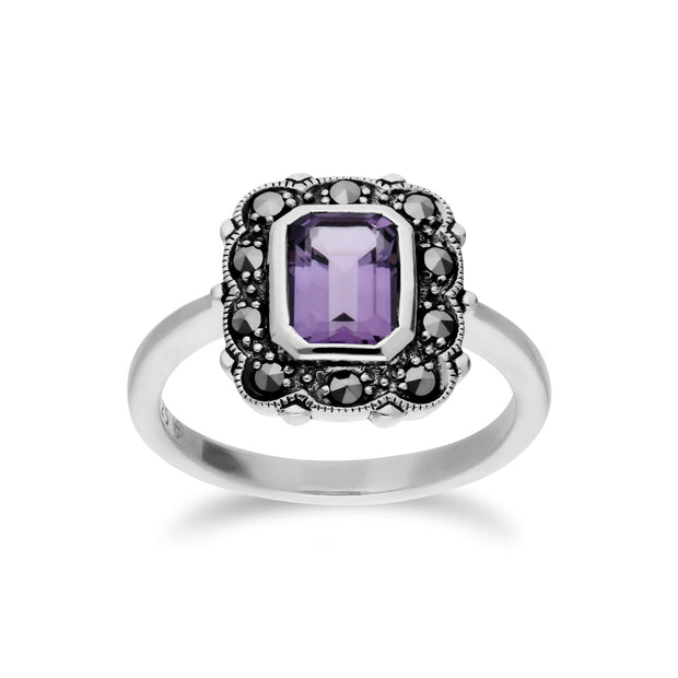 Art Nouveau Style Amethyst Border Ring Image 1