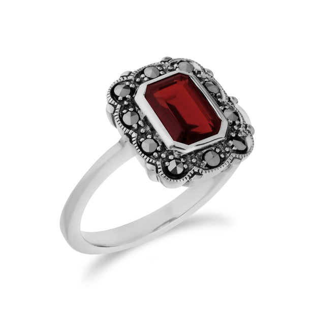 Art Nouveau Style Octagon Garnet & Marcasite Border Ring in 925 Sterling Silver