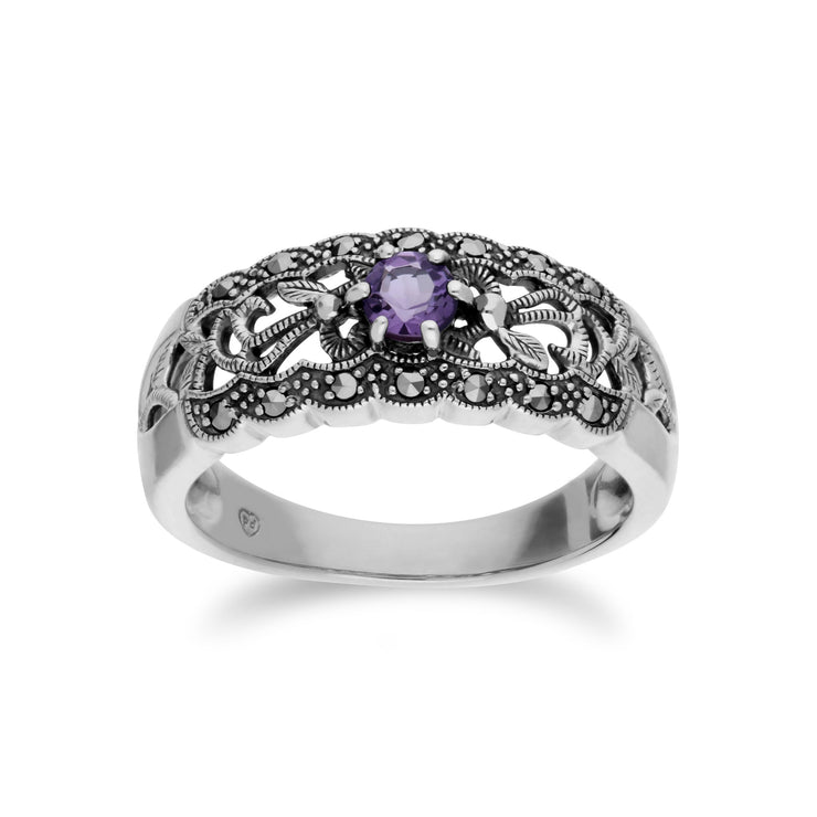 Art Nouveau Style Amethyst & Marcasite Band Ring Image 1