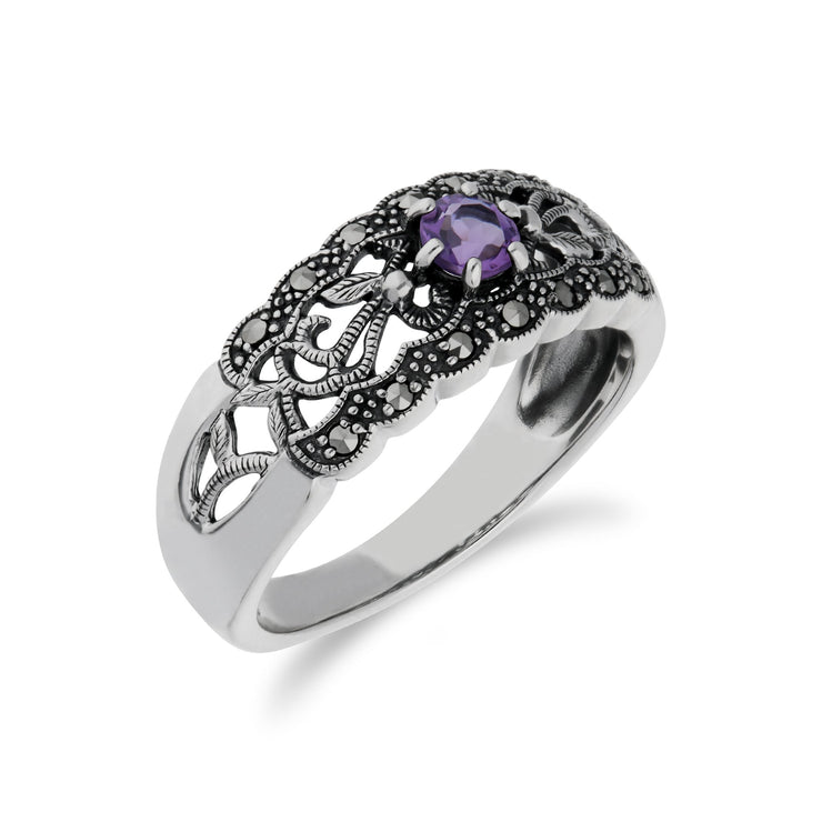 Art Nouveau Style Amethyst & Marcasite Band Ring Image 2