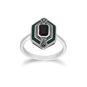 Art Deco Onyx & Enamel Hexagon Ring & Pendant Set Image 3