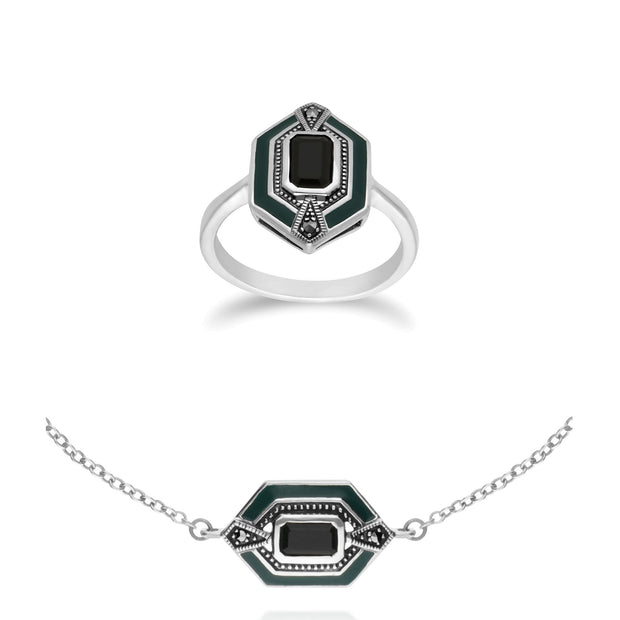 Art Deco Onyx & Enamel Hexagon Ring & bracelet Set Image 1