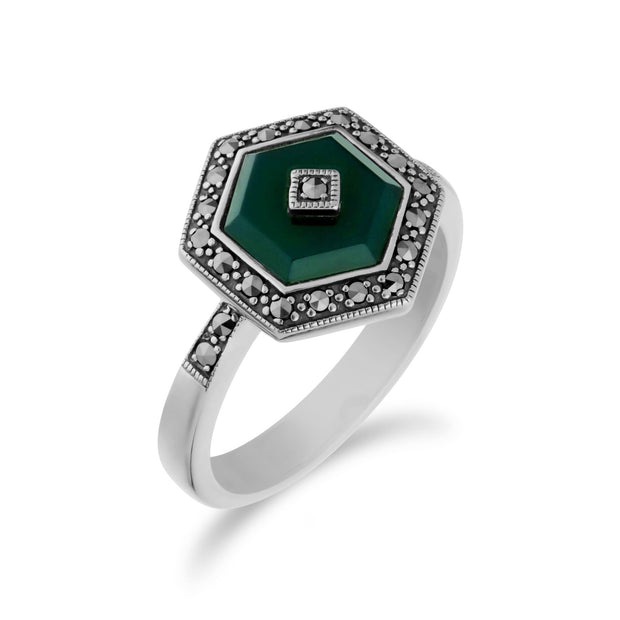 Art Deco Style Green Chalcedony Hexagon Ring Image 2
