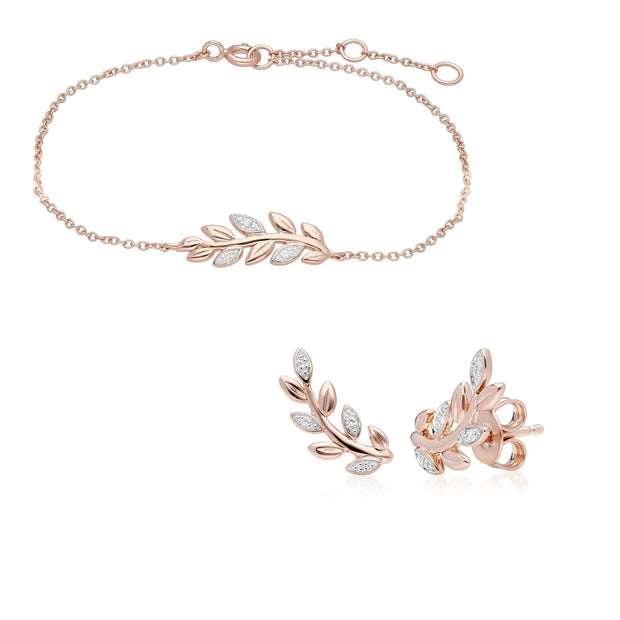 O Leaf Diamond Bracelet & Stud Stud Earring Set in 9ct Rose Gold