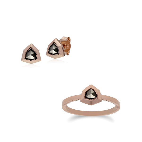 Rose Gold Plated Marcasite Shield Studs & Ring Set Image 1