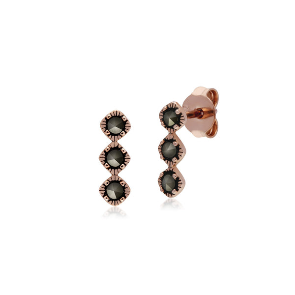 Rose Gold Plated Marcasite Three Stone Studs & Ring Set Image 2