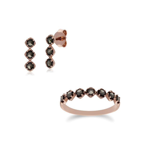 Rose Gold Plated Marcasite Three Stone Studs & Ring Set Image 1