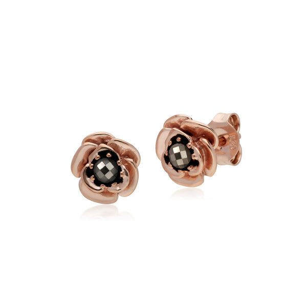 Rose Gold Plated Marcasite Flower Studs & Ring Set Image 2