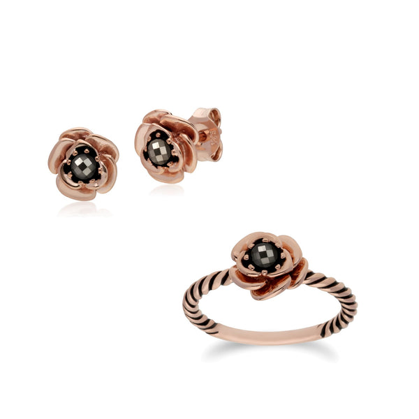 Rose Gold Plated Marcasite Flower Studs & Ring Set Image 1