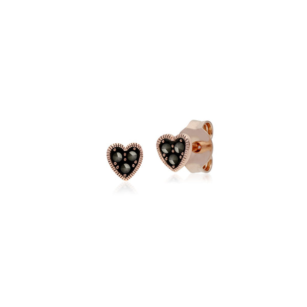 Rose Gold Marcasite Heart Studs & Necklace Set Image 2