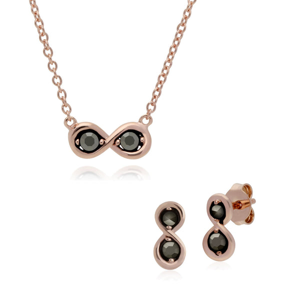 Rose Gold Marcasite infinity Studs & Necklace Set Image 1