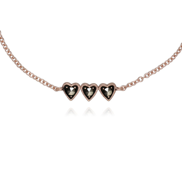 Rose Gold Marcasite Three Heart Marcasite Bracelet Image 1