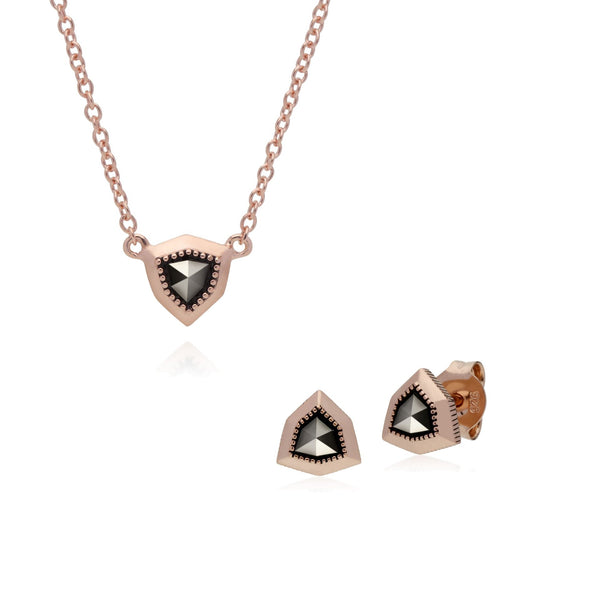 Rose Gold Marcasite Shield Studs & Necklace Image 1