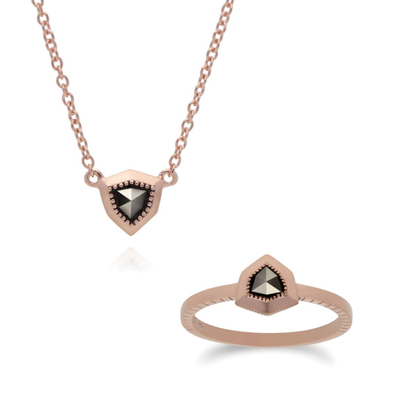 Rose Gold Marcasite Shield Ring & Necklace Set Image 1