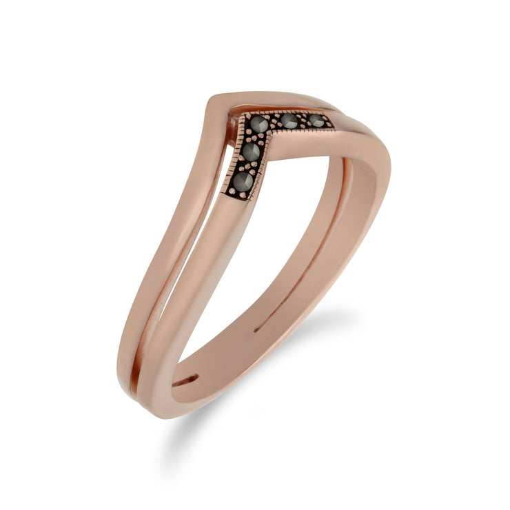 Rose Gold Marcasite Double Triangle Ring Image 2
