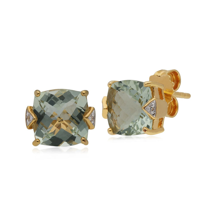Kosmos Green Mint Quartz & Topaz Stud Earrings in Rose Gold Plated Sterling Silver