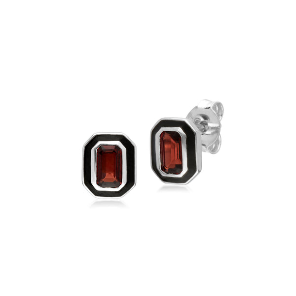 Geometric Garnet & Black Enamel Stud Earrings Image 1