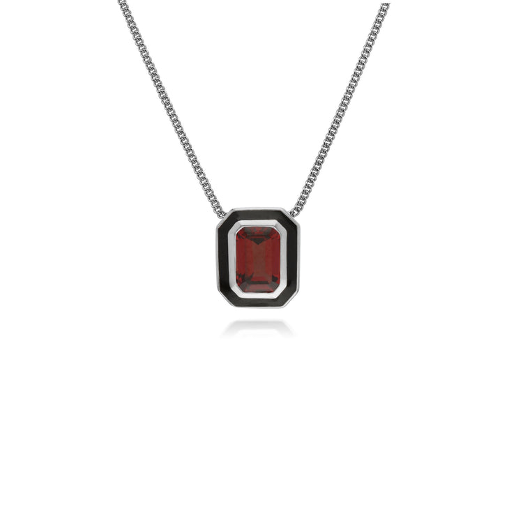 Geometric Garnet & Enamel Necklace Image 1