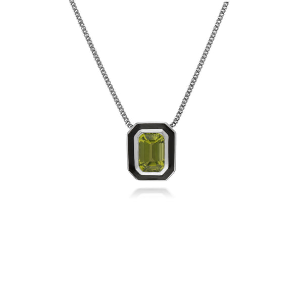 Geometric Peridot & Black Enamel Necklace Image 1