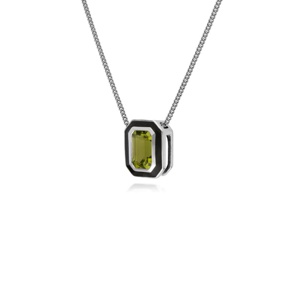 Geometric Peridot & Black Enamel Necklace Image 2