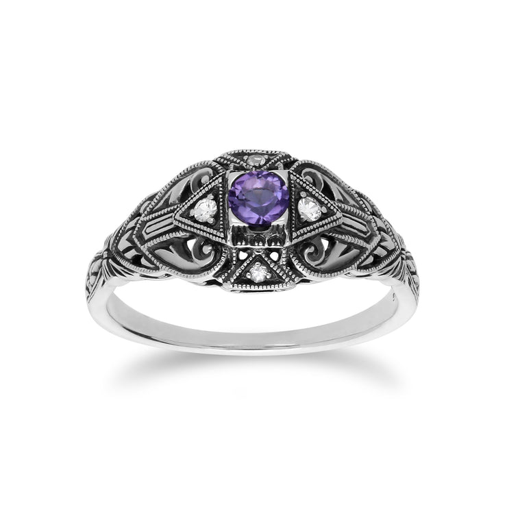 Art Deco Style Amethyst & White Topaz Ring Image 1